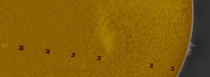 ISS transits the Sun (Credit: RASC Member Jim Chung)