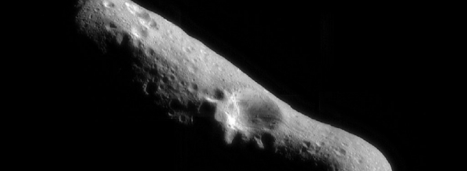Asteroid (433) Eros as imaged by the robotic spacecraft NEAR Shoemaker in 2001.