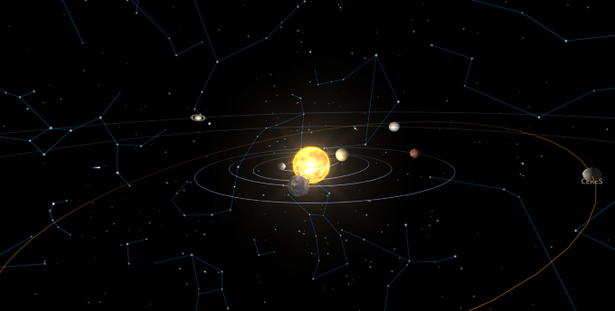 solar system view toward Sun for mid November 2017