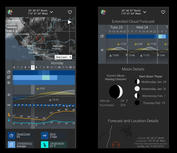 Astrospheric app on a mobile device