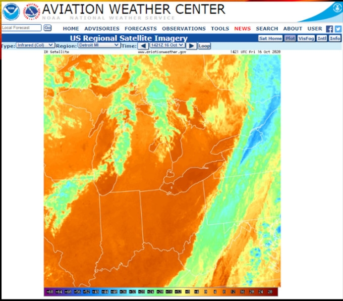 infrared satellite imagery from the NOAA Aviation Weather Center