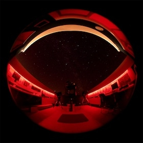 Geoff Brown Observatory at night in red light mode