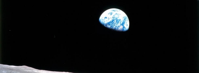 Earthrise as seen from Apollo 8 in lunar orbit December 24, 1968