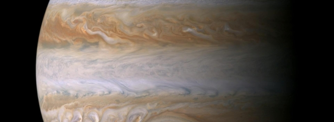 Jupiter clouds and red dot by NASA/JPL - Cassini mission