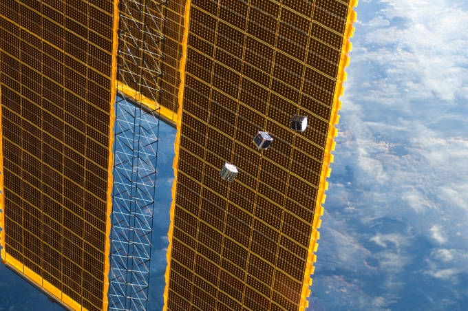 CubeSats launched by ISS Expedition, photo by NASA