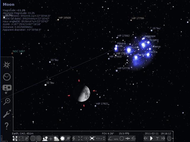 main screen in Stellarium planetarium software